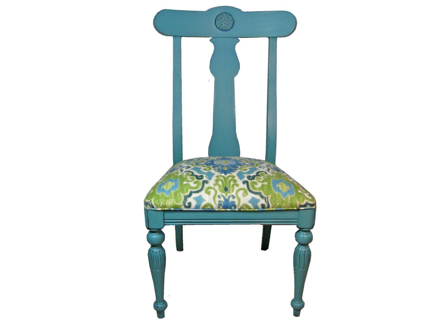 SALE Vintage Aqua Side Chair with Ikat Upholstery by