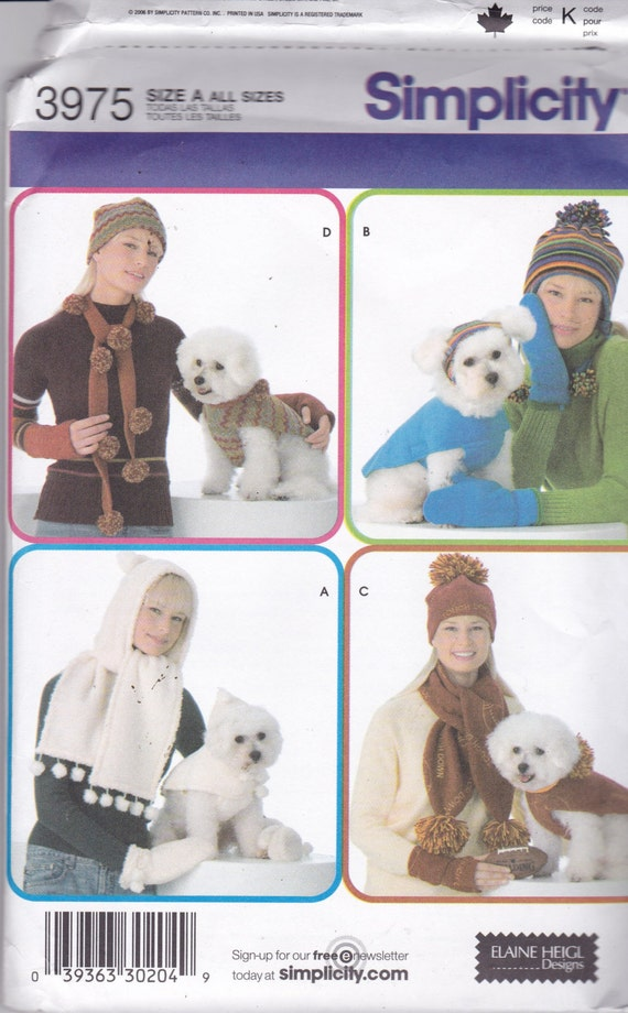 simplicity 3975 dog clothes and matching owner accessories. Black Bedroom Furniture Sets. Home Design Ideas