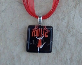Broadway Musical Thoroughly Modern Millie Glass Pendant and Ribbon Necklace