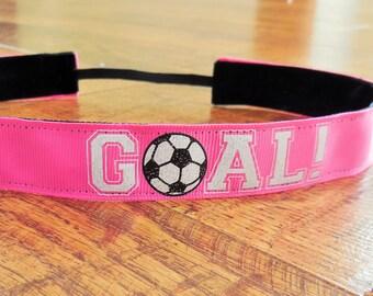 Pink soccer no slip headband.  Soccer headband, girls soccer headband, sports headband, non slip headband, soccer hair accessory
