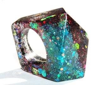 Thin Diamond Cube Handmade abstract 3D Effect rezin,glitter ring for women,girl,size US 7.