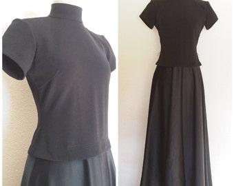 Vintage 70's Black Tie Formal Full Length Gown Dress with Mock Turtle Neck sz M