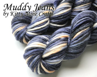 Super Bulky Merino Wool and Bamboo Yarn - Hand Dyed - Muddy Jeans - 3.5oz/ 99g, 70yd/ 64m - White, Blue, Orange
