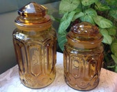 Vintage Gold/Amber Glass Canisters With Lids Pair of Mid Century Canisters