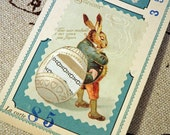 """Antique French Fabric Sample Cards Easter Bunny with Egg from Paris """"La Micheline"""""""