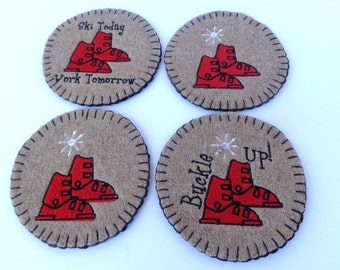 Set of 4 Ski Boot coasters, mug rug - upcycled from a beige and black wool sweater