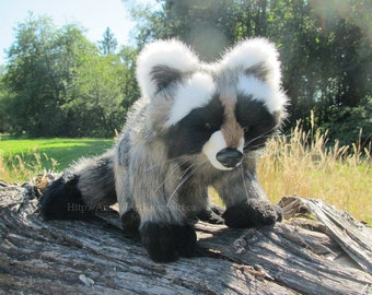 Raccoon Stuffed Animal Plush Toy Forest Critter Creature Wilderness Wild Handmade Canada