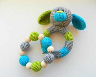 Baby rattle SET of 2 Crochet Baby toy Grasping Teething Toys Dog Teether Stuffed toys Gift for baby Girls Boys