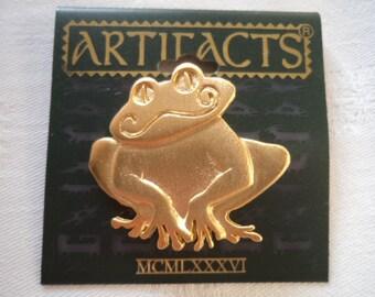 Vintage Signed JJ  Goldtone Smiling Frog Brooch/Pin