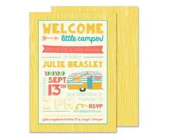 Welcome Little Camper Baby Shower Invitation (camping invite, glamping party)