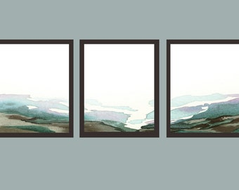 Watercolor Landscape Valley Triptych, Art Prints, Watercolor, Awakeyoursoul, statement wall art, large art, living room art