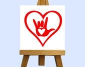 Sign Language Love Mini Canvas with Easel - Custom