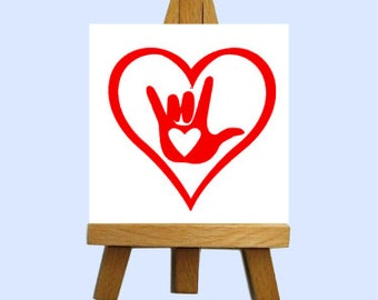 Sign Language Love Mini Canvas with Easel - Custom