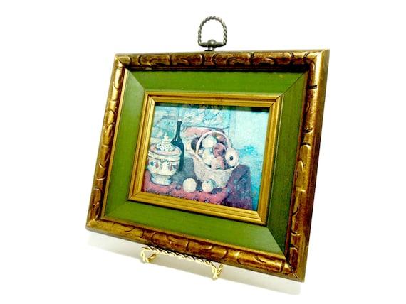 Framed Still Life by Cezanne, Art Print, Dark Green Bronze Tone Frame