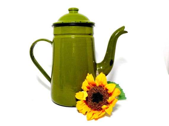 Enamelware Teapot, Coffee Pot, Kettle, Green Enamelware, Black Trim, Olive or Avocado Green, Coffee Lovers, Rustic Primitive Kitchen Decor