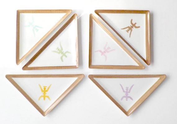 Deshoulieres Sushi Plates, Set of 6, Dessert Plates, Made in France, Hand Painted Triangular Plates, Asian Design, Multi Colors, Rare