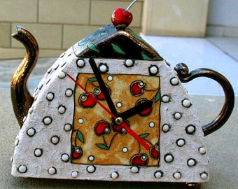 Handmade Ceramic Standing Clock, Pottery Cherry clock, Teapot Clock, Hand painted clock, Cherries Clock, Pottery and Ceramic