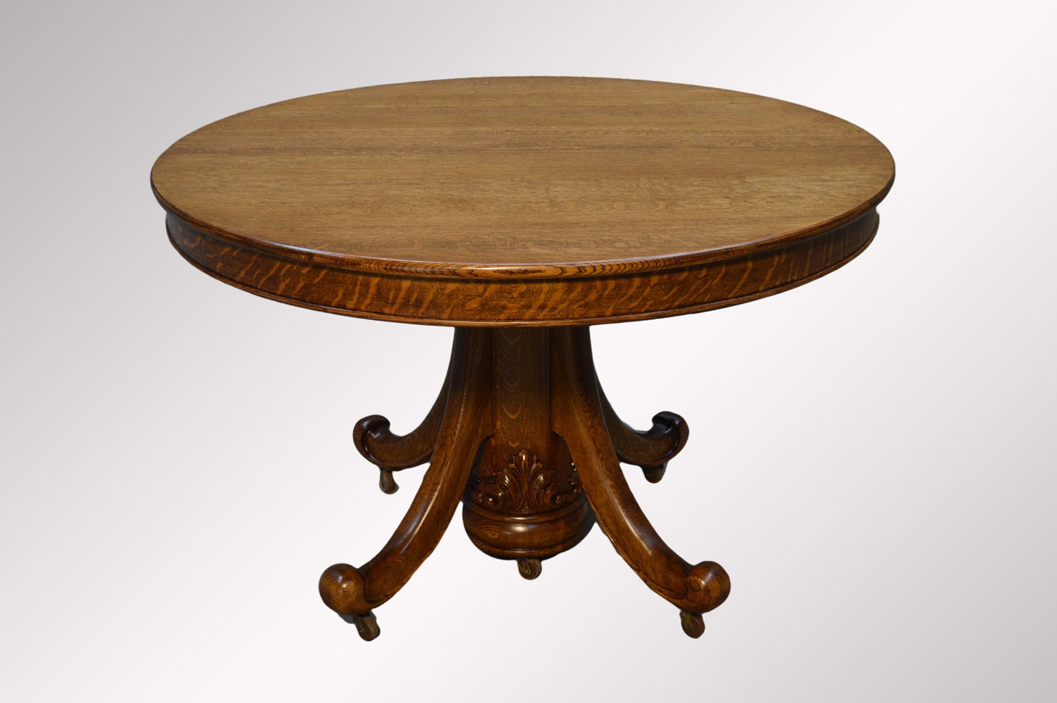 16448A Antique Tiger Sawn 48 Round Dining Table W Leaves REDUCED