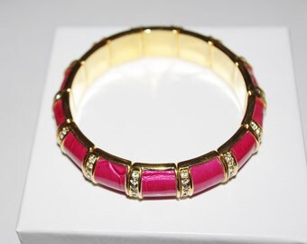 Joan Rivers Stretch Bracelet - Magenta Leather and Crystal                             - S1069