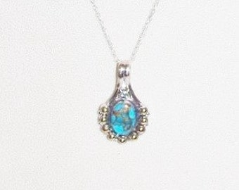 Sterling Silver Natural Turquoise Necklace       -                    S897