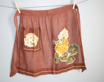 Vintage Sheer Brown Half Apron with applique and yellow rickrack detail glamping supplyg