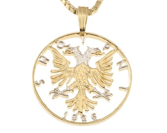 """Albanian Pendant and Necklace, Hand Cut Coin, 14Karat Gold and Rhodium Plated, 1"""" in Diameter (#1)"""