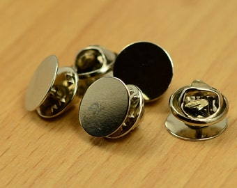 "40 Pieces Silver Color  12 mm Pad (15/32"") Tie Tack Blanks Findings, Clutch Pin Brooch"