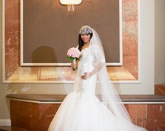 Couture Bridal CAP Veil, Beaded Veil Crystal Art Deco, Sparkly Wedding Cap, Juliette Crystal Art Deco Cap, Bridal Veil Cap, Angelica~