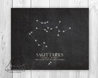 SAGITTARIUS Constellation: Zodiac Print - Star constellation, Constellation Print, Astrology wall art - Home Decor - Wall ART PRINT