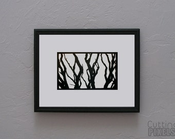 Bare Branches Hand cut paper art black silhouette paper cutting