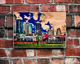 Photo Transferred onto Wood 'City Block' (Free Shipping)