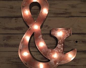 Vintage Marquee Light Ampersand Sign