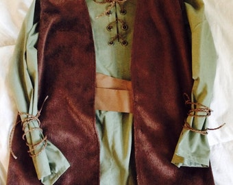 Hiccup Vest and Sash, Renaissance, Fairy, Viking, Celtic Vest and Sash, Custom order to fit your child's size