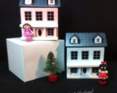 PandaGirl's toys ~ wooden dollhouse &  mini doll 2-pc with two-option styles