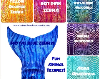 "Mermaid Tail For Swimming!! ""Animal Textures"""