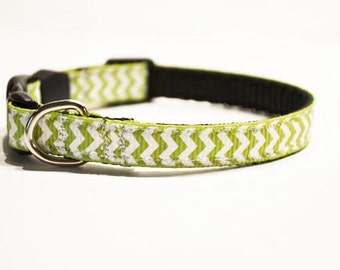 Personalized - Mini dog/cat collars for the tiny breeds - green chevron - Made to order
