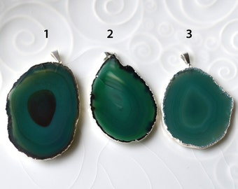 Silver Edged Agate Pendant, Greenl Agate Slice, Agate Pendant, Electroplated, A