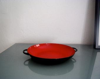 o o o Red Enamel Decorative Bowl Vintage French Kitchen w. Handles