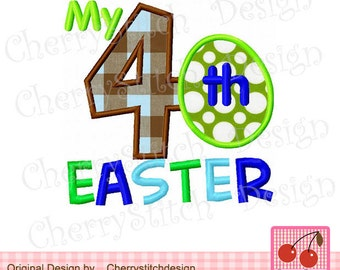 My 4th Easter egg Machine Embroidery Applique Design for boys - 4x4 5x5 6x6""