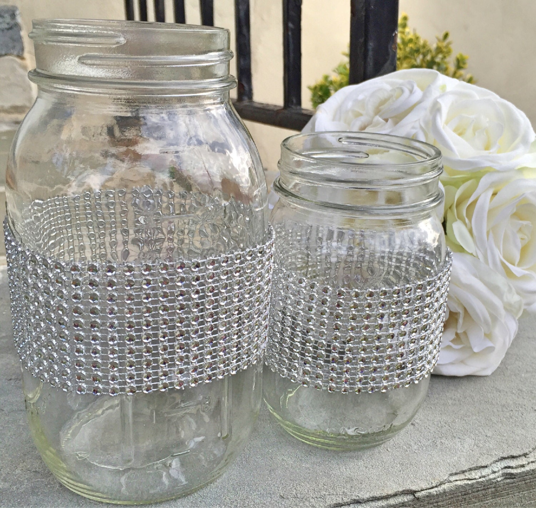pint or quart size mason jar with rhinestones by. Black Bedroom Furniture Sets. Home Design Ideas