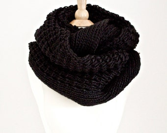 FREE Priority Upgrade Chunky Infinity Knitted Scarf in Black Coz Loop Scarf Holiday Gifts Scarves and Wraps