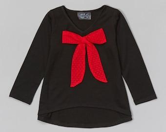 Black Mesh Bow Top - Infant, Toddler & Girls