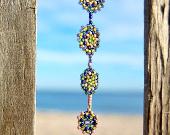 Fields of Wild Lupine- Peyote Stitched Drop Earring