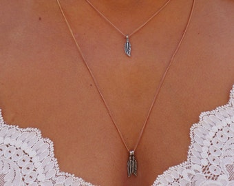 Rose Gold and Sterling Silver Feather Necklace