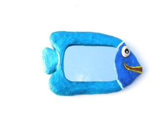 Decorative wall mirror,Blue mirror fish,hippie furniture,Blue fish mirror,home or office decoration