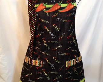 Chili peppers full apron  Free shipping!!