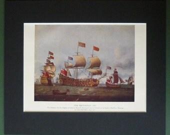 Vintage Nautical Print of The Britannia - 17th Century Battleship - Maritime Decor - War of the Grand Alliance - Isaac Sailmaker Art Print