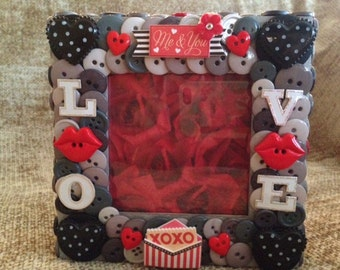 Love and Lips Themed Button Picture Frame