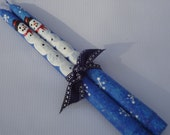 Snowman taper candles, hand painted Christmas candles, winter decor, winter candles
