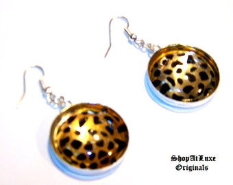 Metallic Leopard Print Cabochon Earrings
